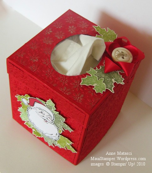 The top of the Santa Tissue box