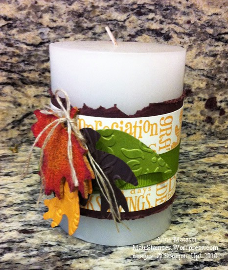 Candle with cork and paper leaves