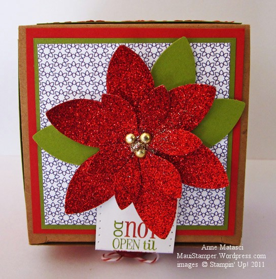 Glimmer Poinsettia Gift Box top