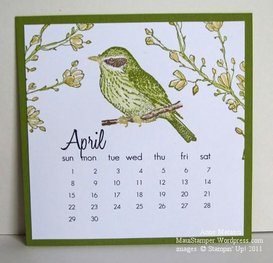 April 2012 Easel Calendar