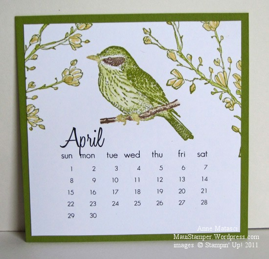 April 2012 Easel Calendar