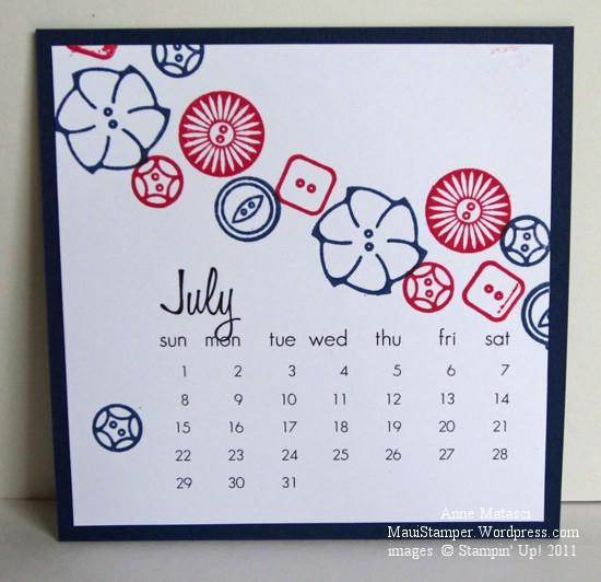 July 2012 Easel Calendar