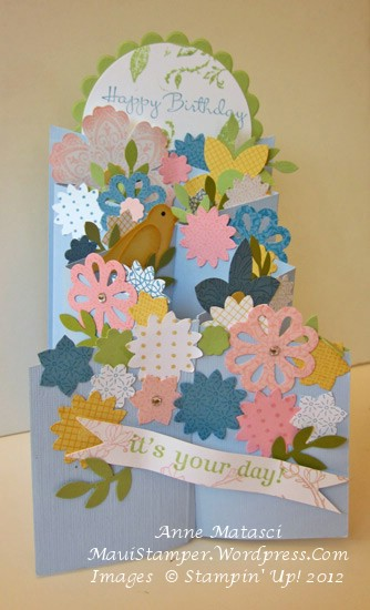 Floral cascading card open