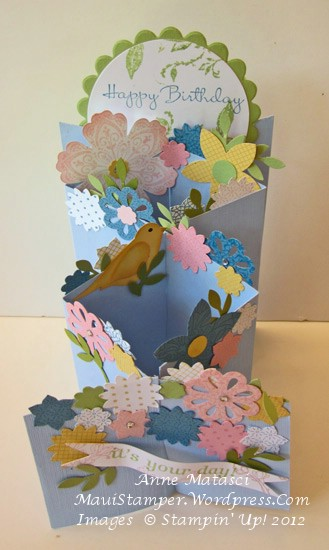 Floral cascading card  top view