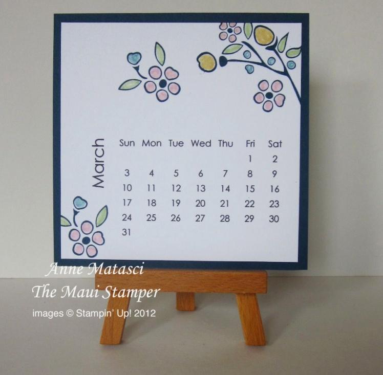 Maui Stamper March 2013 calendar
