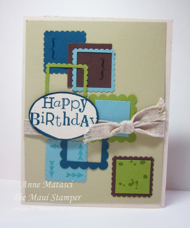 Stampin' Up! Maui Stamper Manly Squares Birthday