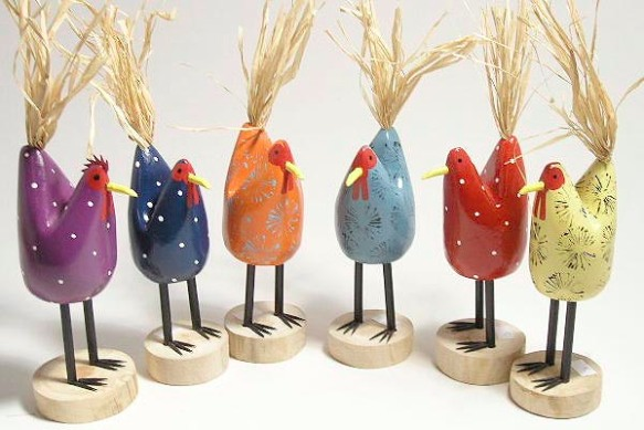 Folk Art Chickens by Edith John