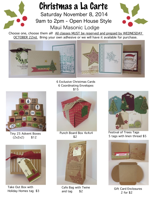 Maui Stamper Christmas A La Carte November 8, 2014