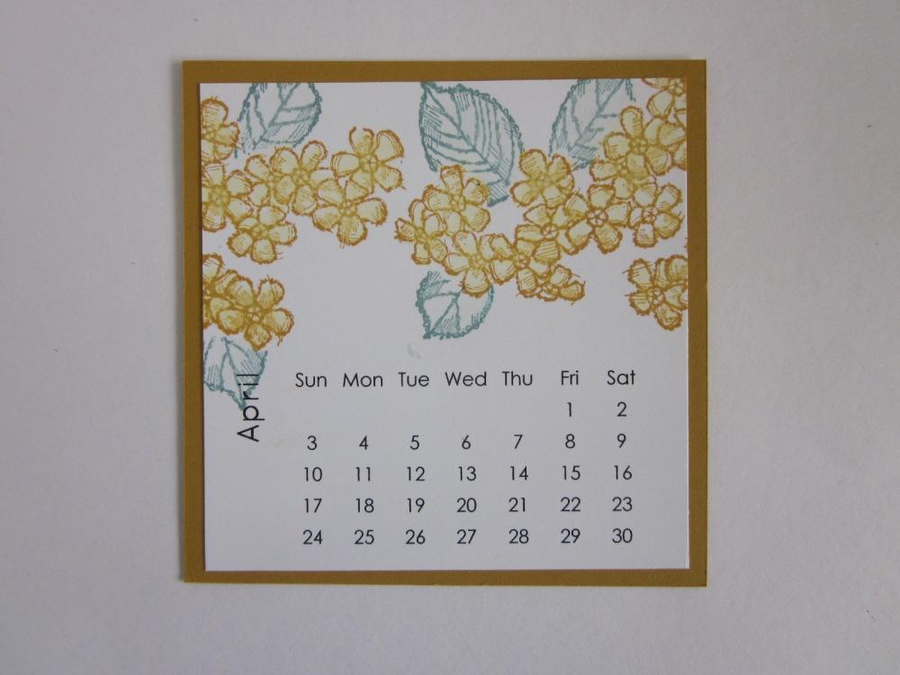 Maui Stamper DIY Easel Calendar April 2016