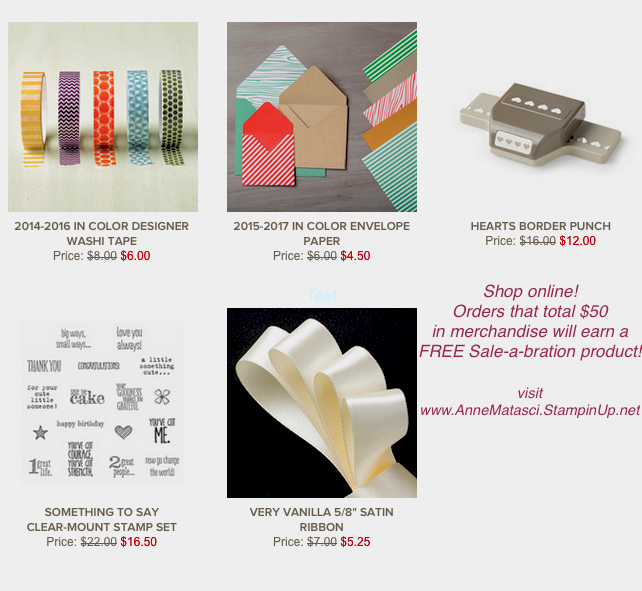 Stampin' Up! Weekly Deals January 12-18, 2016