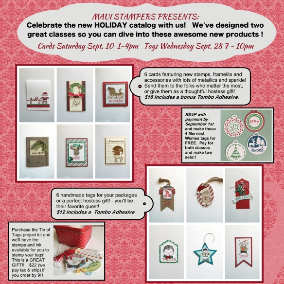 Maui Stamper 2016 Holiday Card and Tag Classes