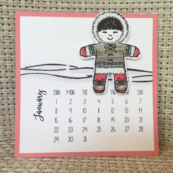 Maui Stamper 2017 DIY Easel Calendar January
