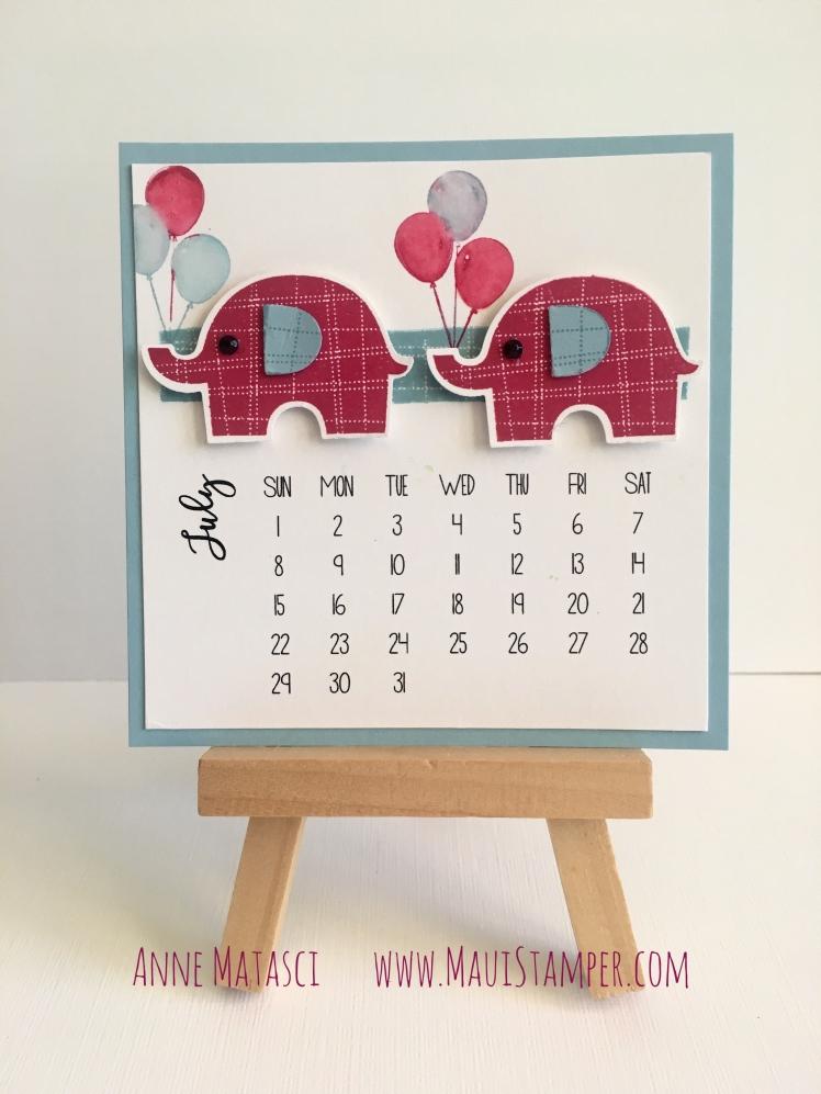 Maui Stamper Stampin' Up! DIY Easel Calendar 2018 Little Elephant