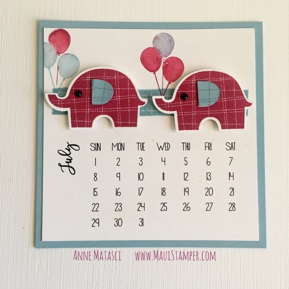 Maui Stamper Stampin' Up! DIY Easel Calendar 2018 Little Elephant