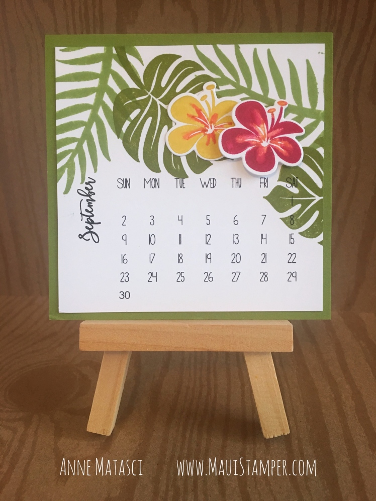 Maui Stamper Stampin' Up! Tropical Chic DIY Easel Calendar September 2018