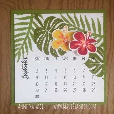 Maui Stamper Stampin' Up! Tropical Chic DIY Easel Calendar September 2018