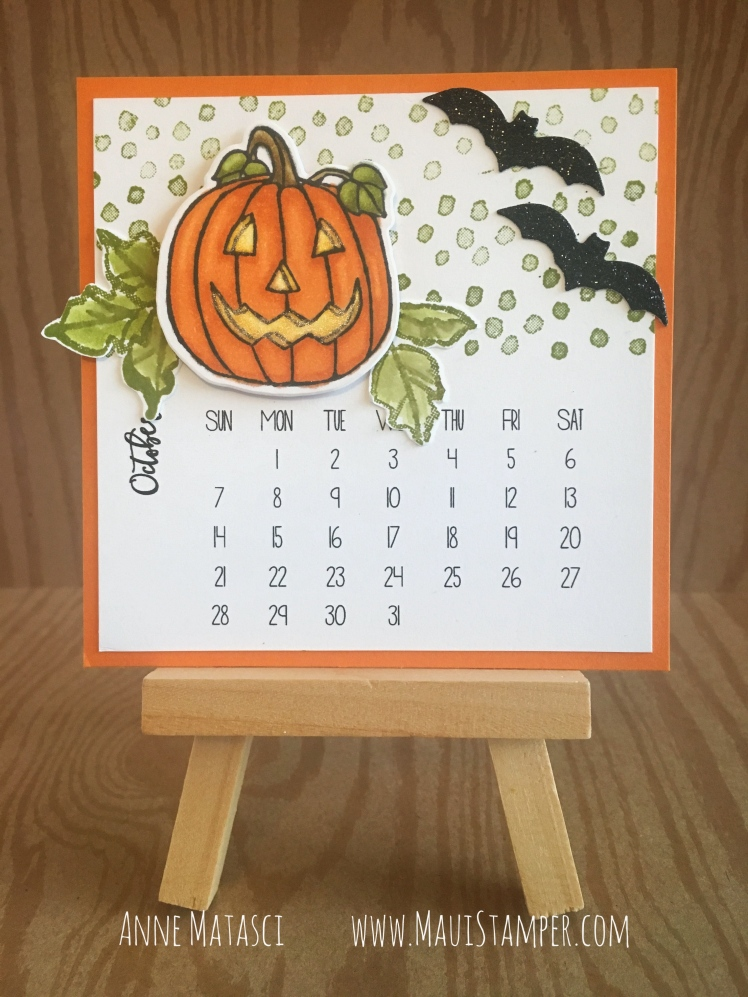 Maui Stamper Stampin' Up! Seasonal Chums DIY Easel Calendar October 2018