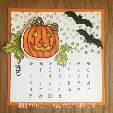 Maui Stamper Stampin' Up! Seasonal Chums DIY Easel Calendar October 2018