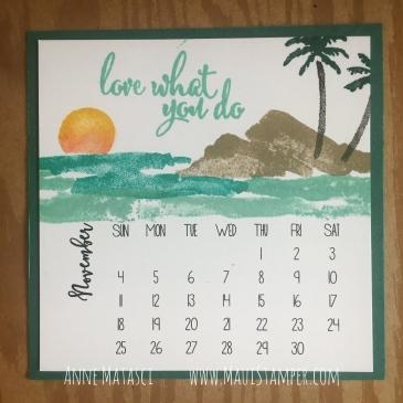 Maui Stamper Stampin' Up! Waterfront DIY November 2018 Easel Calendar