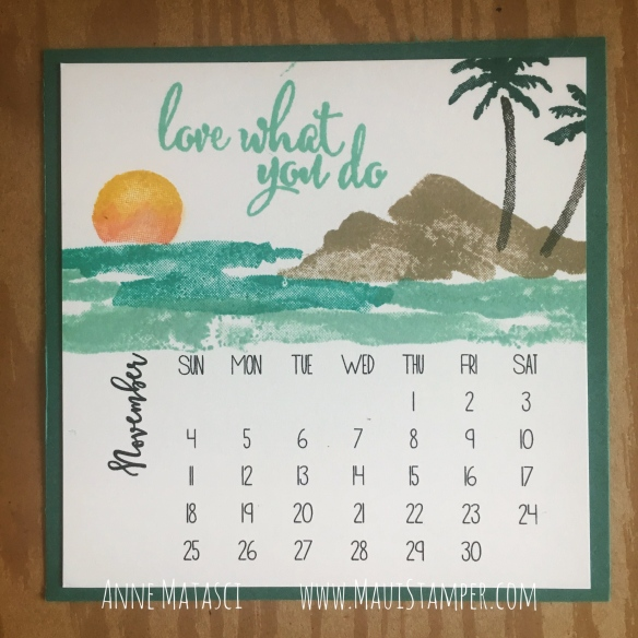 Maui Stamper Stampin' Up! Waterfront DIY November 2018 Easel Calendar