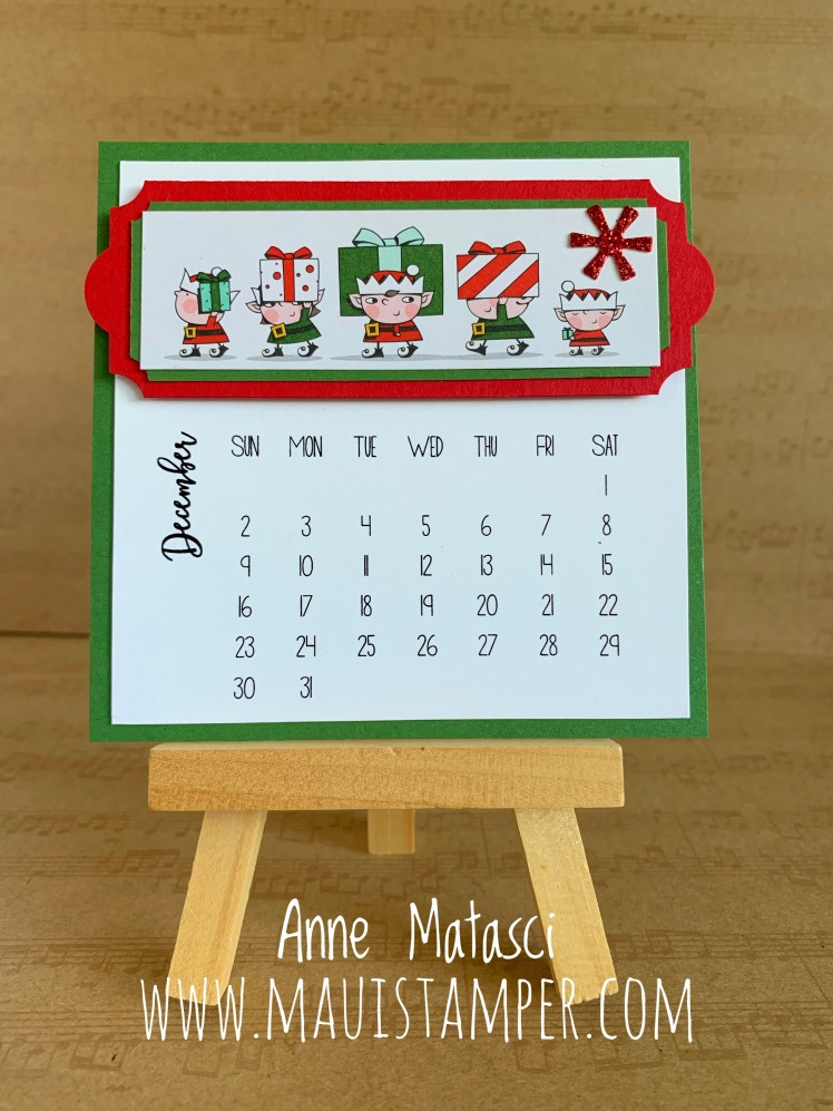 Maui Stampers Stampin' Up! DIY Easel Calendar 2018 Santa's Workshop