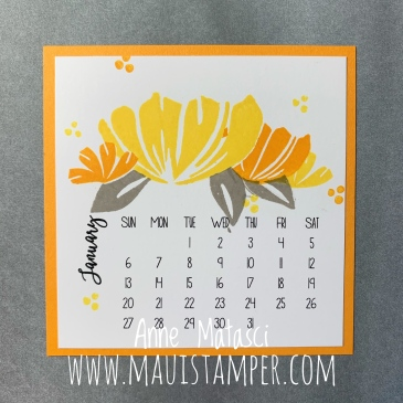 Maui Stamper Stampin' Up! Bloom By Bloom 2019 DIY Easel Calendar January