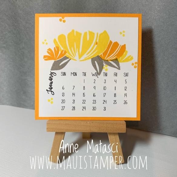 Maui Stamper Stampin' Up! Bloom By Bloom 2019 DIY Easel Calendar January