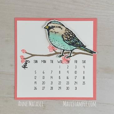 Maui Stamper Stampin' Up! May 2019 DIY Easel Calendar Best Birds