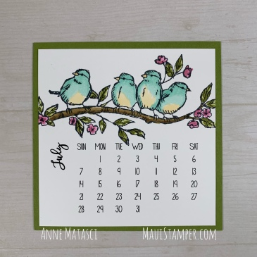 Maui Stamper Stampin Up DIY Calendar July 2019