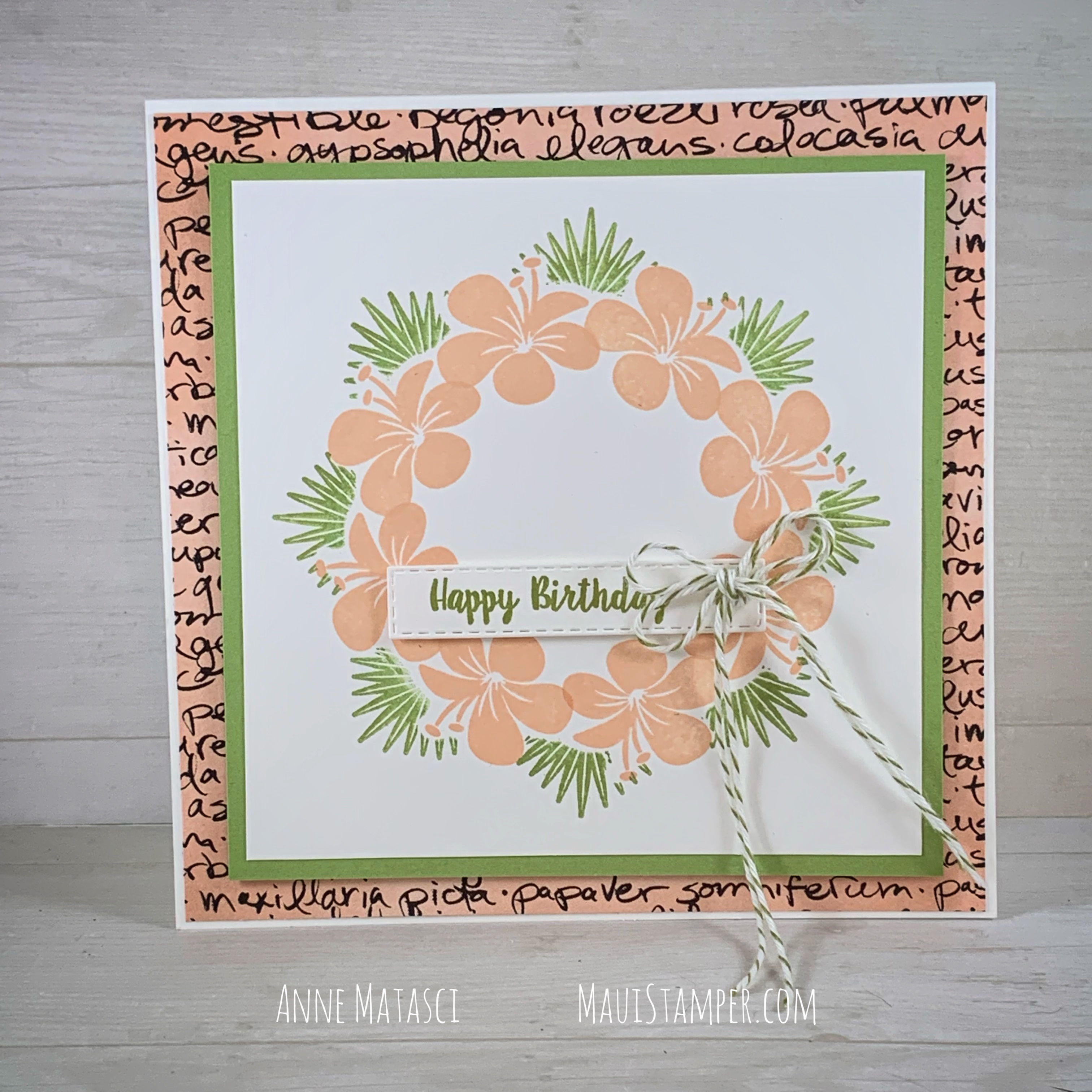 Maui Stamper Stampin Up Tropical Chic Square Wreath with the Stamparatus