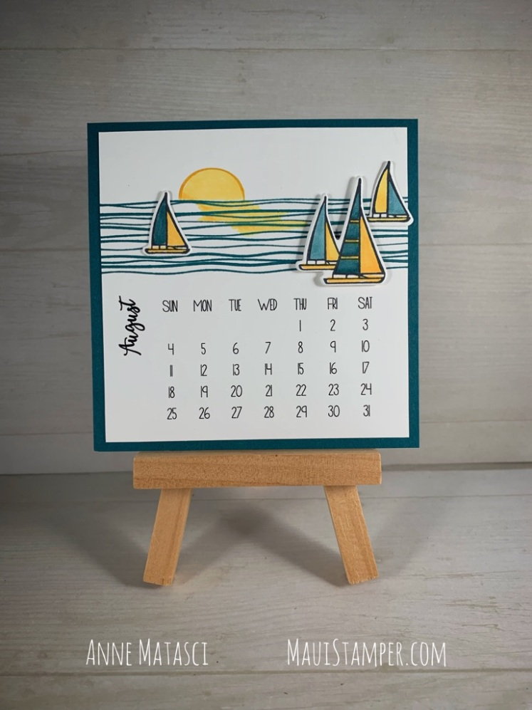 Maui Stamper Stampin Up DIY Easel Calendar Lilypad Lake July 2019