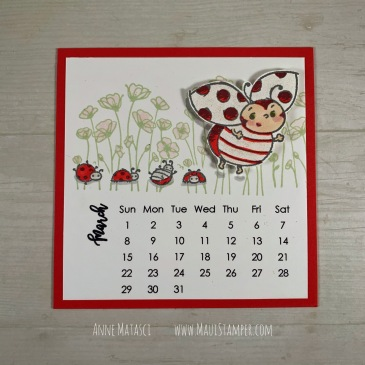 Maui Stamper Stampin Up Little Ladybug March 2020 DIY Easel Calendar