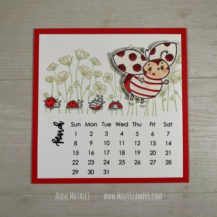 Maui Stamper Stampin Up Little Ladybug March 2020 DIY Easel Calendar