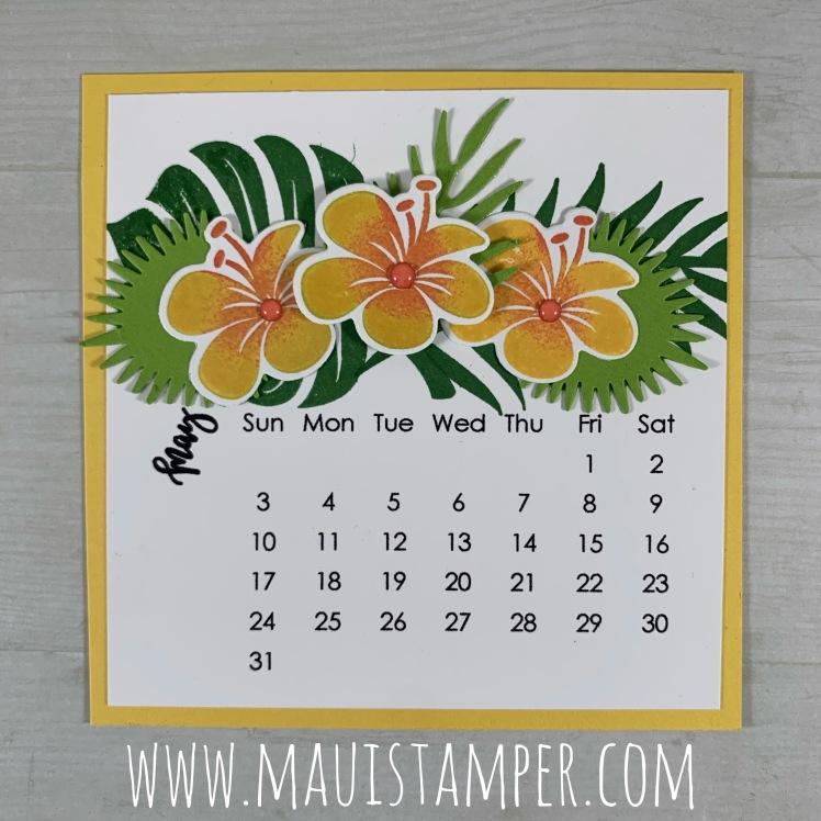 Maui Stamper Tropical Chic May 2020 DIY Easel Calendar