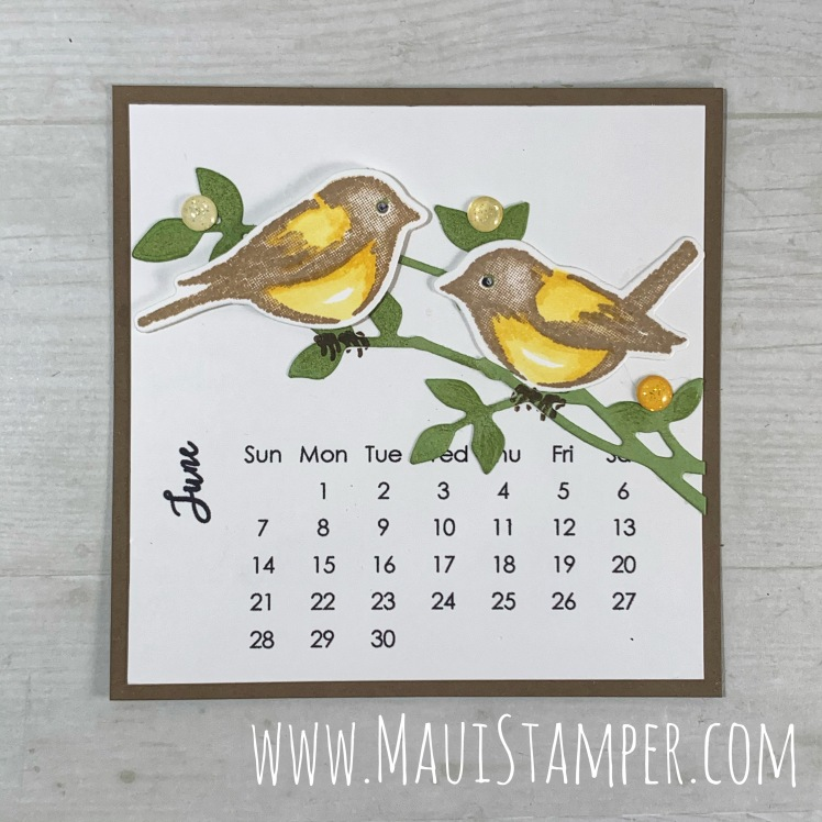 Maui Stamper Stampin Up DIY Easel Calendar June 2020 Birds & Branches