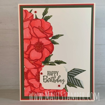 Maui Stamper Stampin Up Painted Poppies Split Card technique