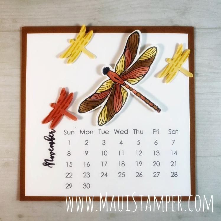 Maui Stamper Stampin Up DIY Easel Calendar November 2020 Dragonfly Garden