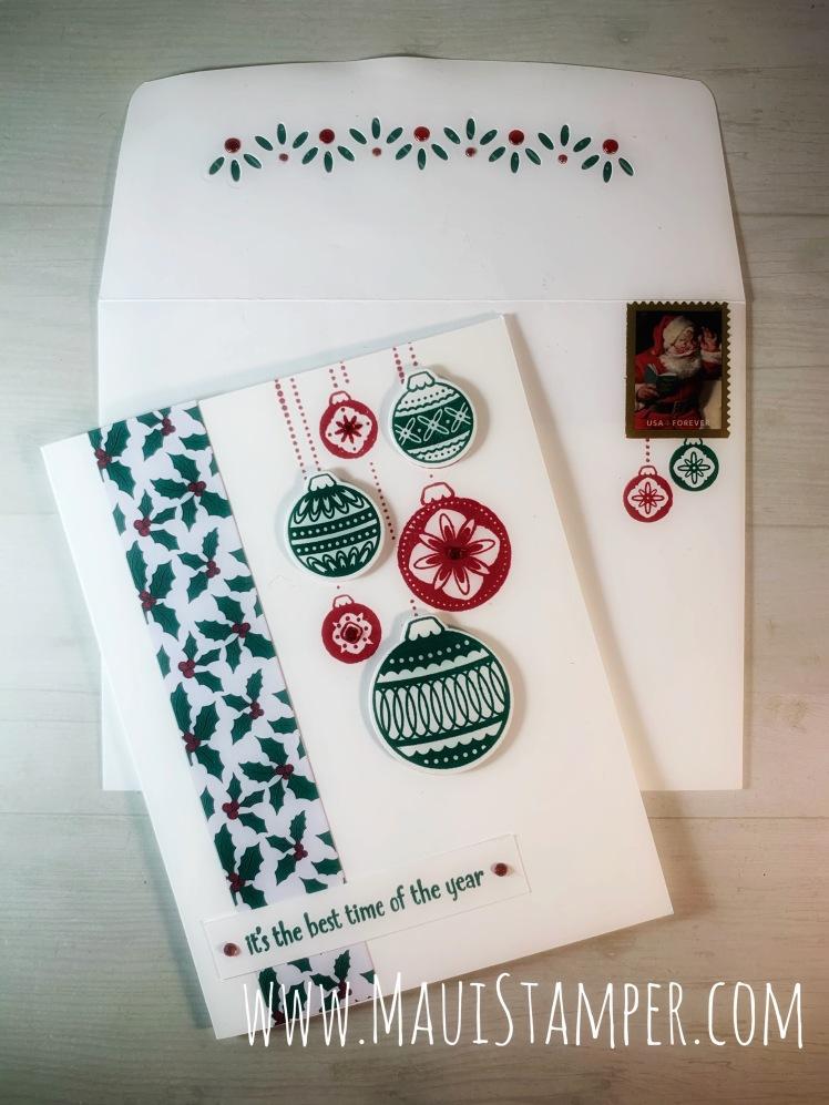 Maui Stamper Stampin Up Ornamental Envelope Handmade Christmas Card