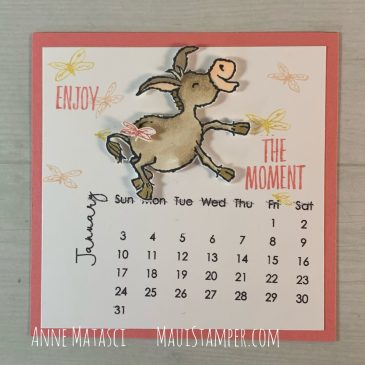 Maui Stamper 2021 January Easel Calendar Darling Donkeys Enjoy the Moment