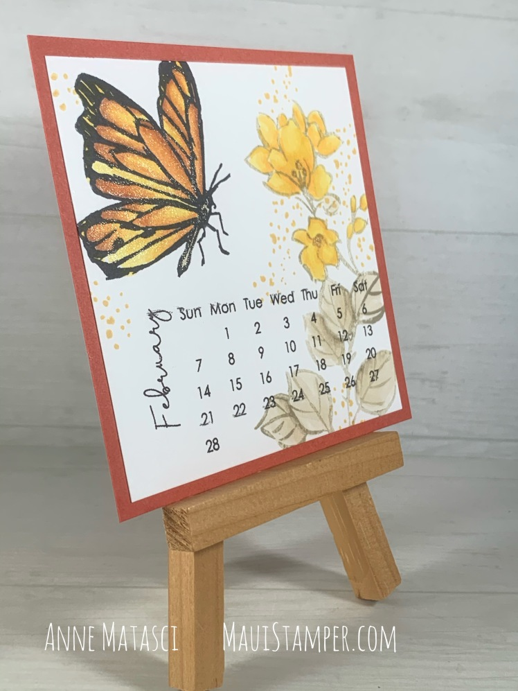 Maui Stamper Stampin Up DIY Easel Calendar February 2021 A Touch of Ink Sale-a-bration