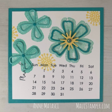 Maui Stamper Stampin Up Pretty Perennials DIY Easel Calendar March 2021