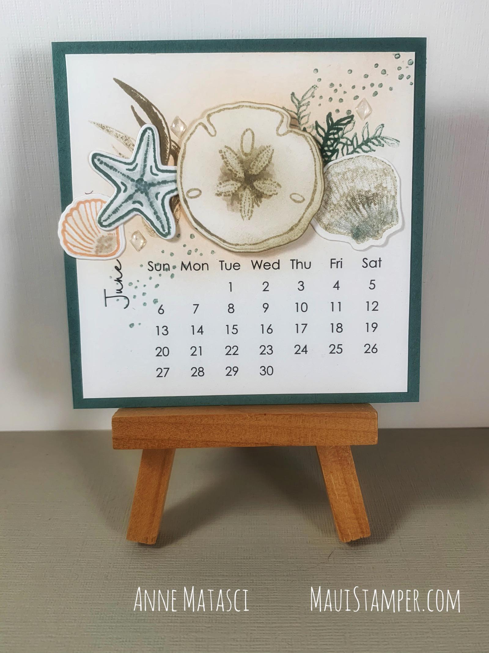 Maui Stamper Stampin Up Friends Are Like Seashells DIY Calendar June 2021