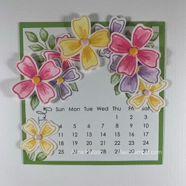 Maui Stamper Stampin Up Flowers of Friendship DIY Easel Calendar July 2021